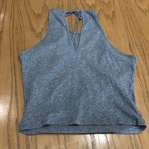 Active USA Gray V-neck Crop Top